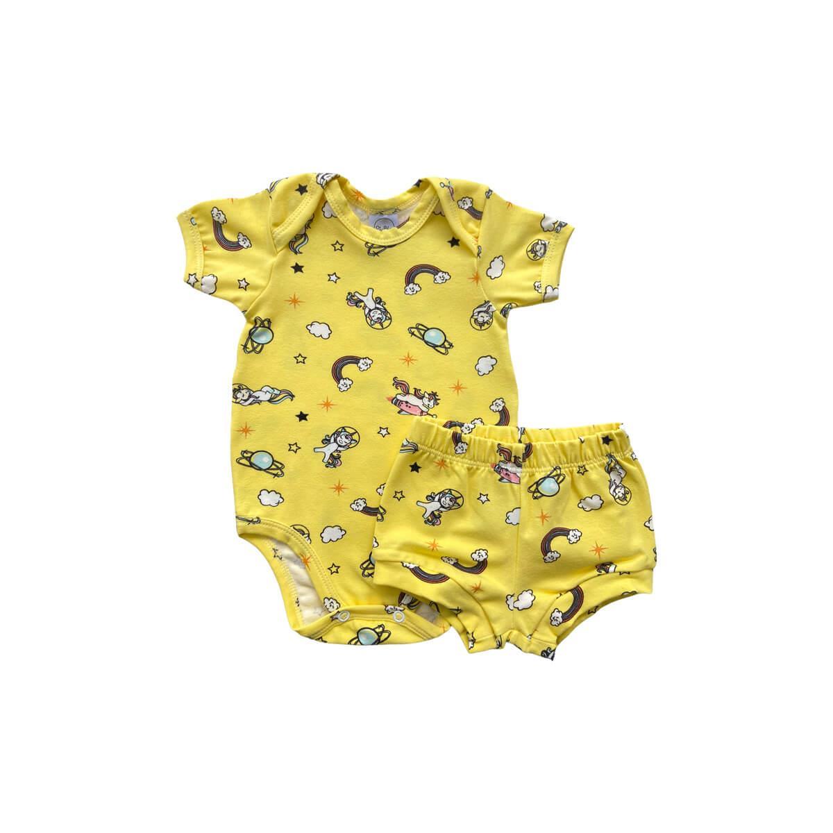 Conjunto Curto Unicórnio Amarelo