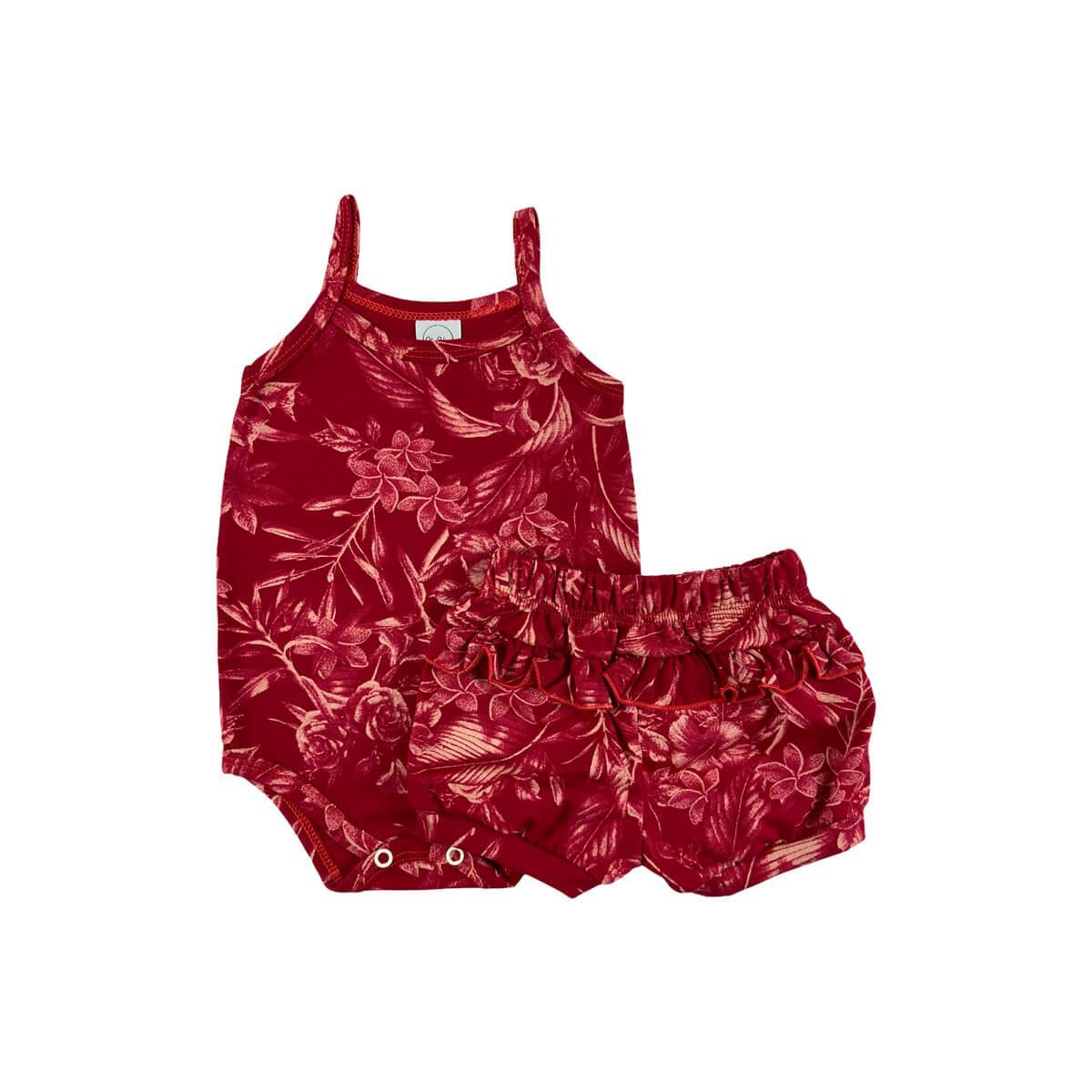 Conjunto Feminino Floral Vermelho