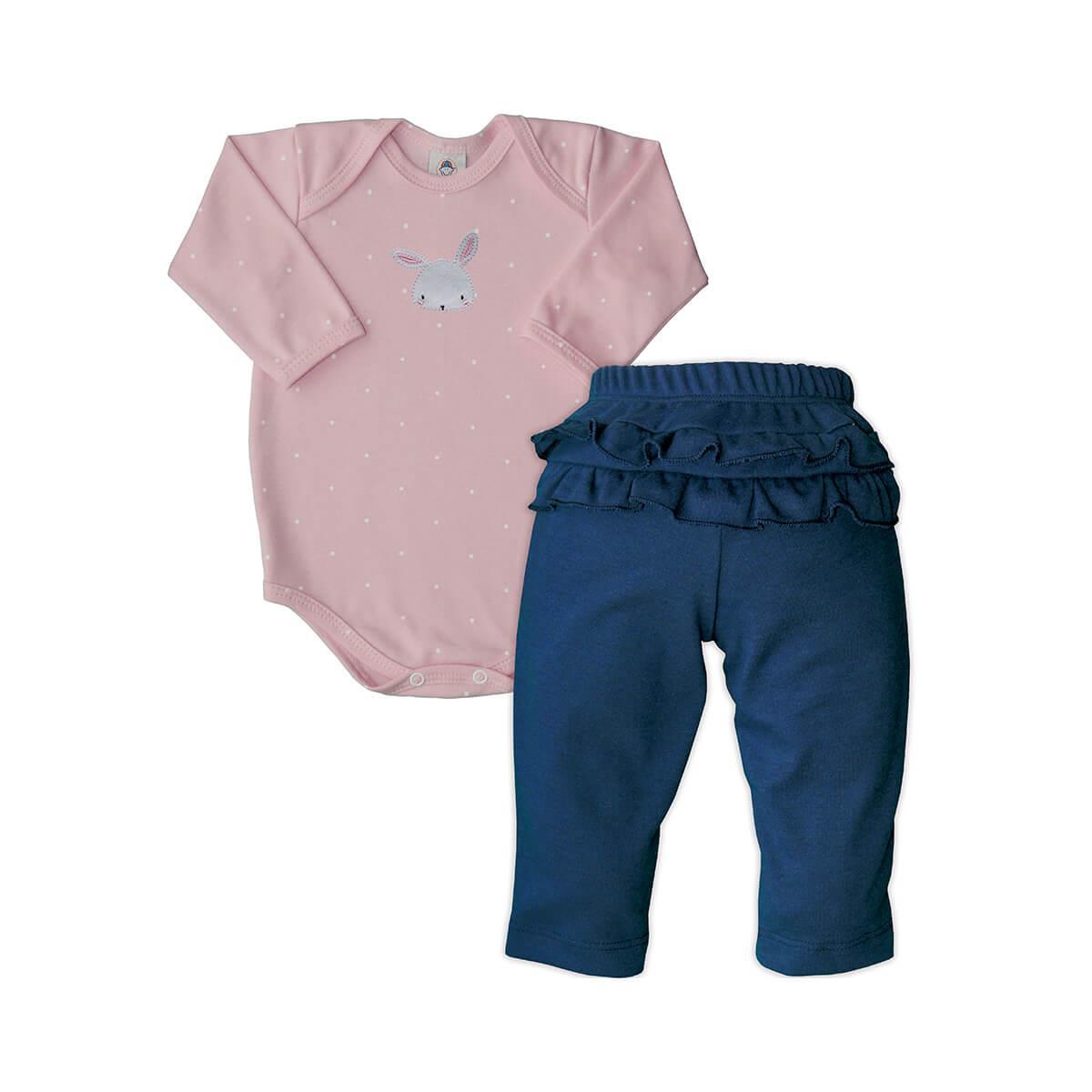Conjunto Bebê Longo Feminino Coelhinho  - Piu Blu