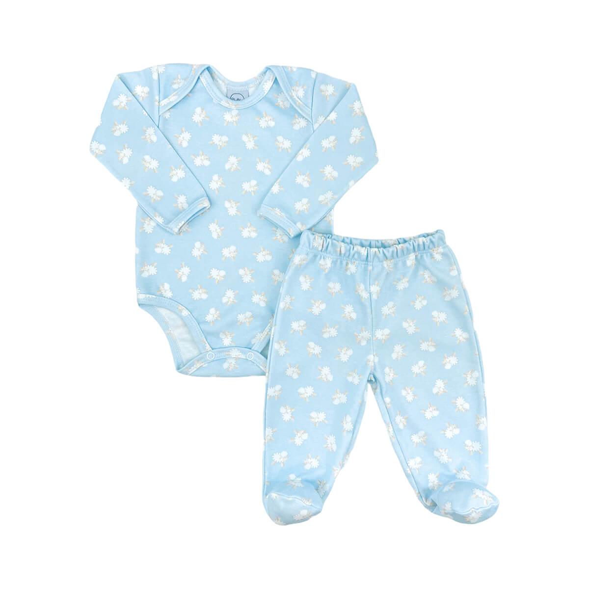 Conjunto Bebê Longo Fio Egípcio Ovelhinha Azul - Tamanhos RN e P com pezinho; M, G e XG sem pezinho  - Piu Blu