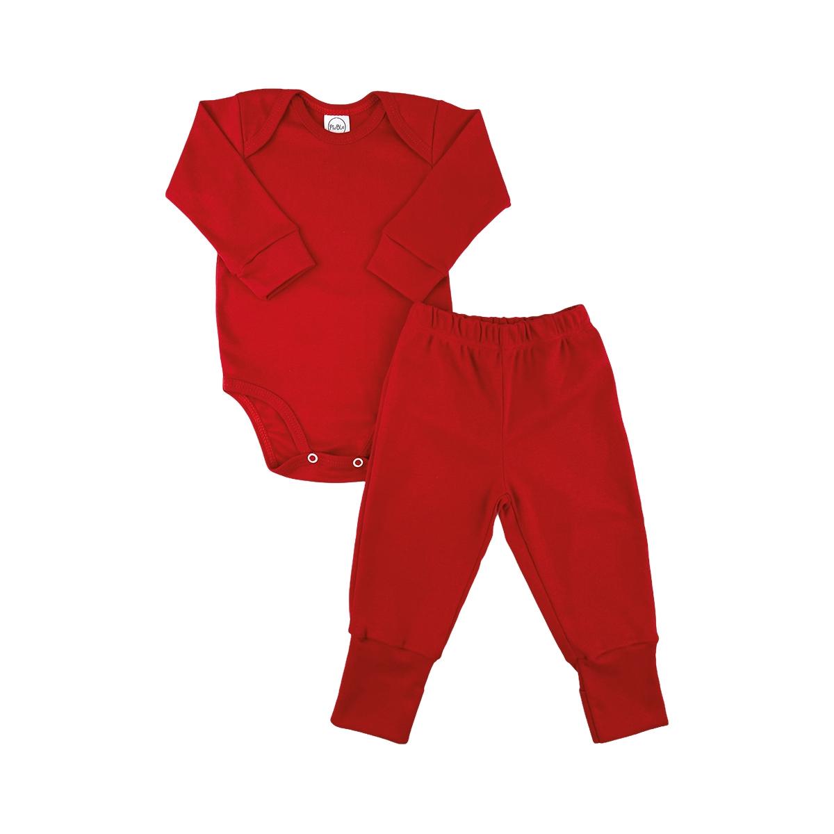 Conjunto Longo Pezinho Reversível Underwear Vermelho