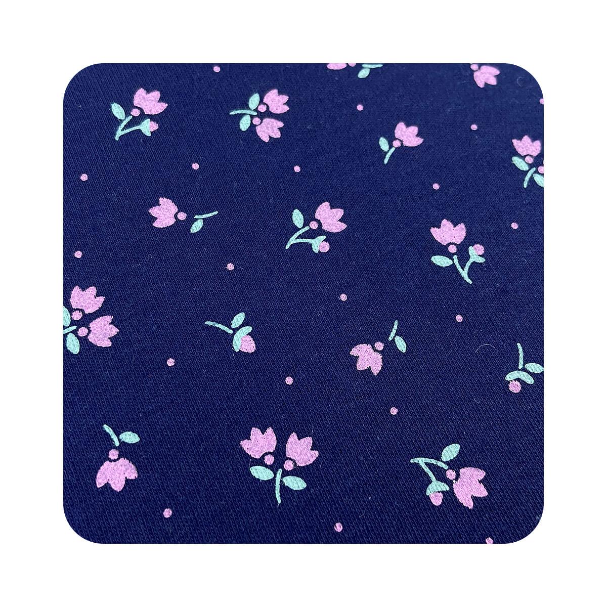 Faixa de Cabelo Bebê Floral Marinho com Elástico  - Piu Blu
