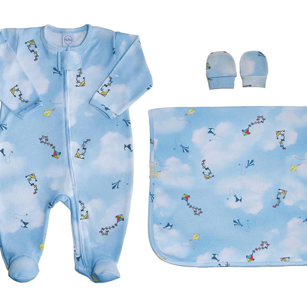 Kit Conforto Bebê Zíper Pipas  - Piu Blu