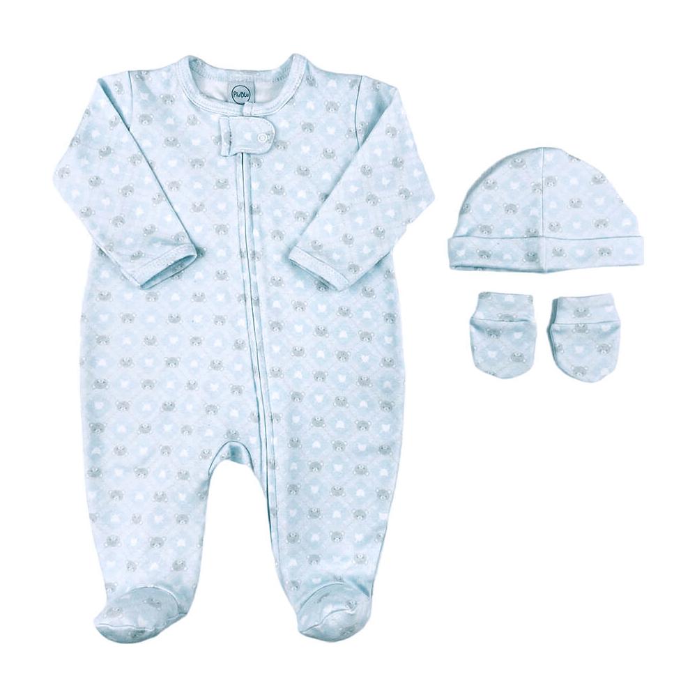 Kit Maternidade Bebê Fio Egípcio Ursinho Azul  - Piu Blu