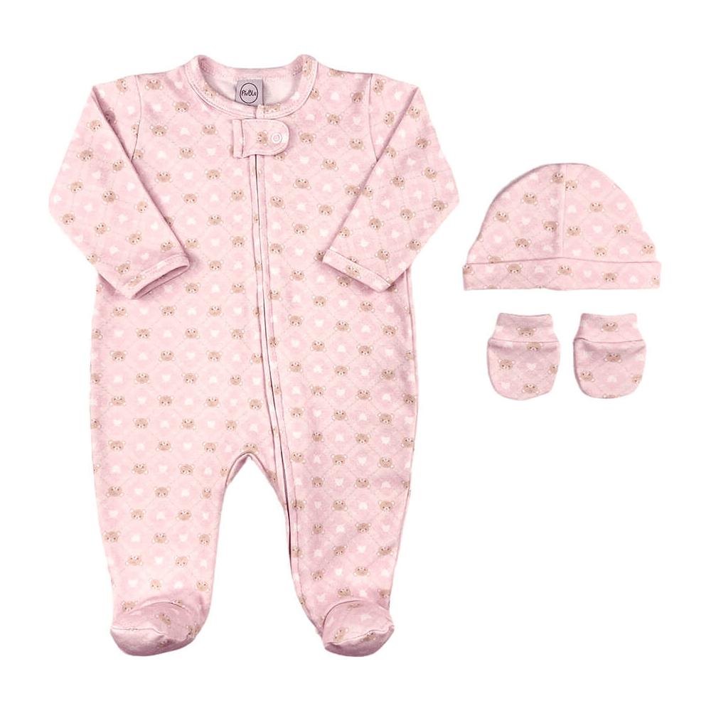 Kit Maternidade Bebê Fio Egípcio Ursinho Rosa  - Piu Blu