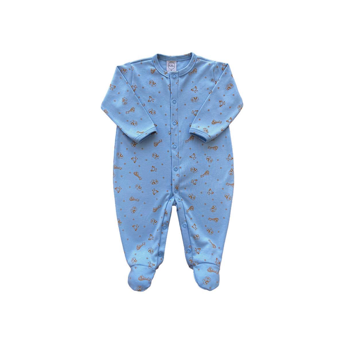 Macacão Básico Bichinhos Azul Bebê - Tamanhos RN e P com pezinho; M, G e XG sem pezinho