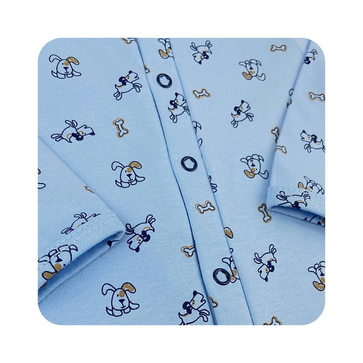 Macacão Bebê Básico Cachorrinho Azul - Tamanhos RN e P com pezinho; M, G e XG sem pezinho  - Piu Blu