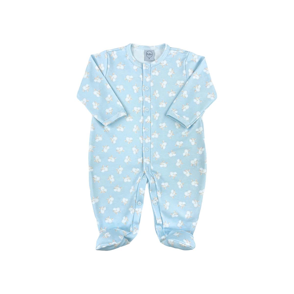 Macacão Bebê Básico Fio Egípcio Ovelhinha Azul - Tamanhos RN e P com pezinho; M, G e XG sem pezinho