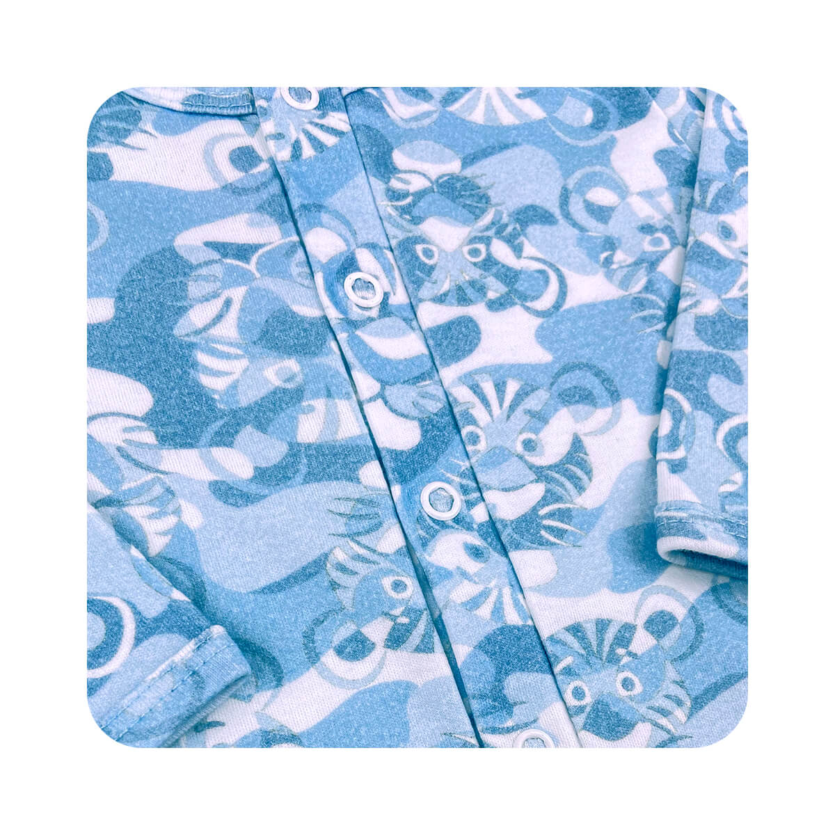 Macacão Básico Fio Egípcio Tigrinho - Tamanhos RN e P com pezinho; M, G e XG sem pezinho  - Piu Blu