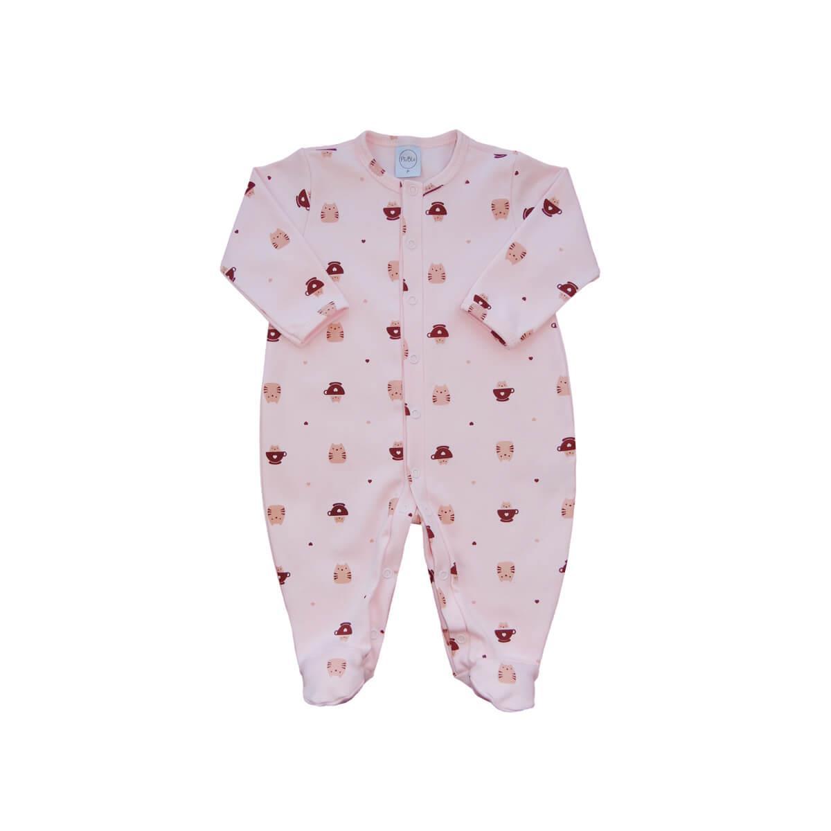 Macacão Bebê Básico Gatinho Rosa  - Piu Blu