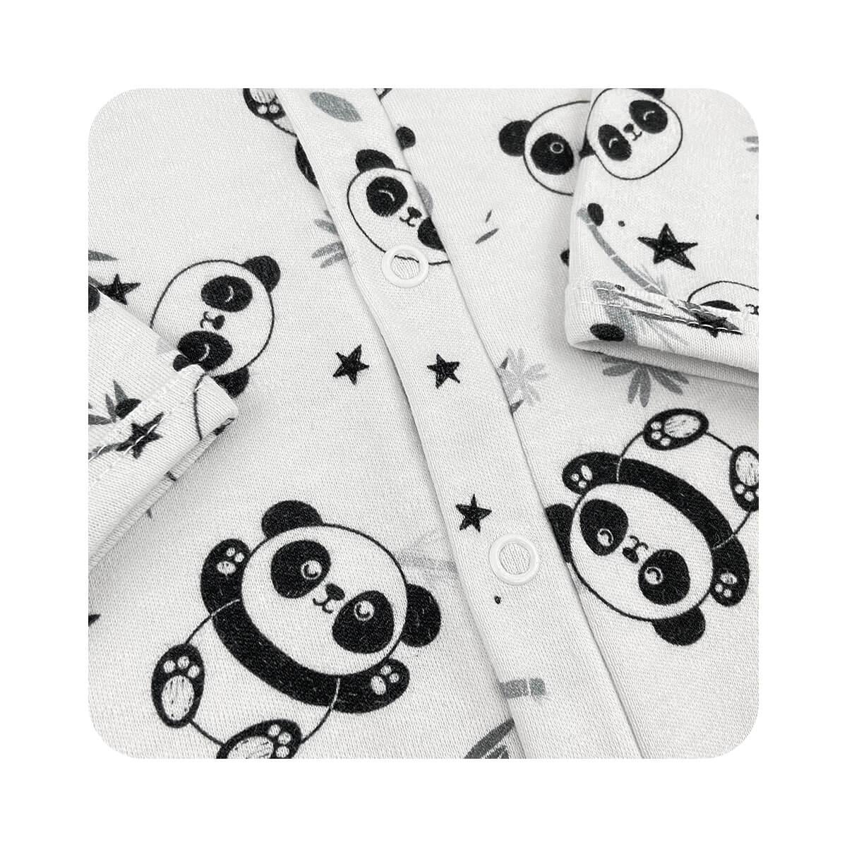 Macacão Básico Pandas - Tamanhos RN e P com pezinho; M, G e XG sem pezinho  - Piu Blu