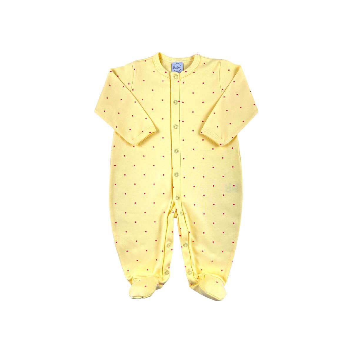Macacão Básico Poá Amarelo  - Piu Blu