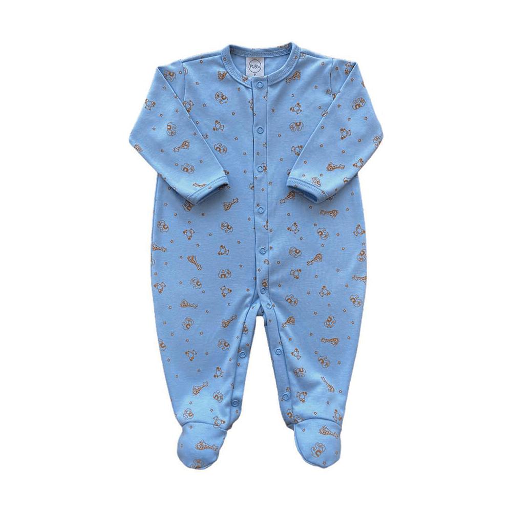 Macacão Bebê Bichinhos Azul Bebê - RN e P com pezinho; M, G e XG sem pezinho