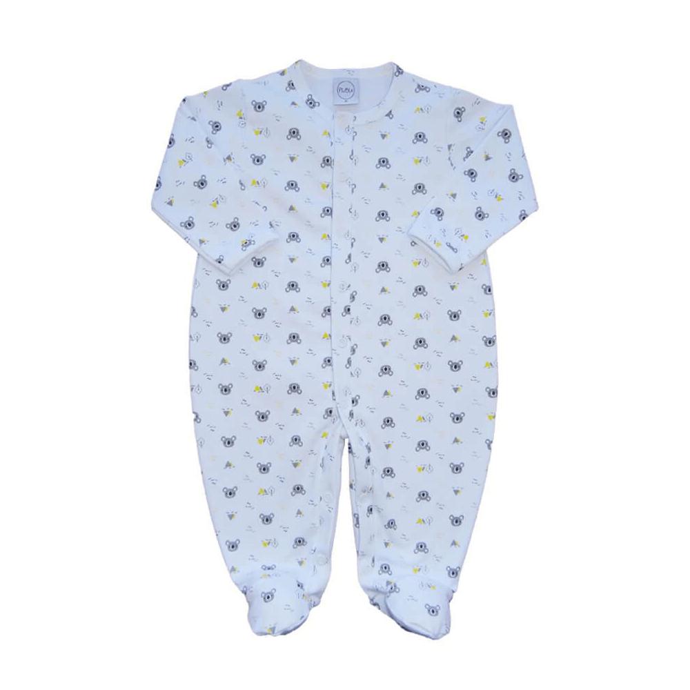 Macacão Bebê Coalinha Branco - RN e P com pezinho; M, G e XG sem pezinho  - Piu Blu