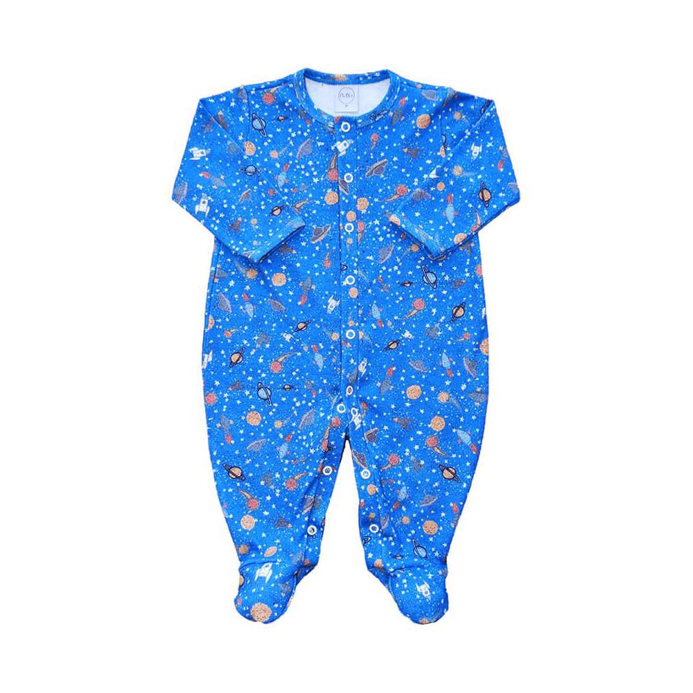 Macacão Bebê Espaço Cobalto - RN e P com pezinho; M, G e XG sem pezinho  - Piu Blu