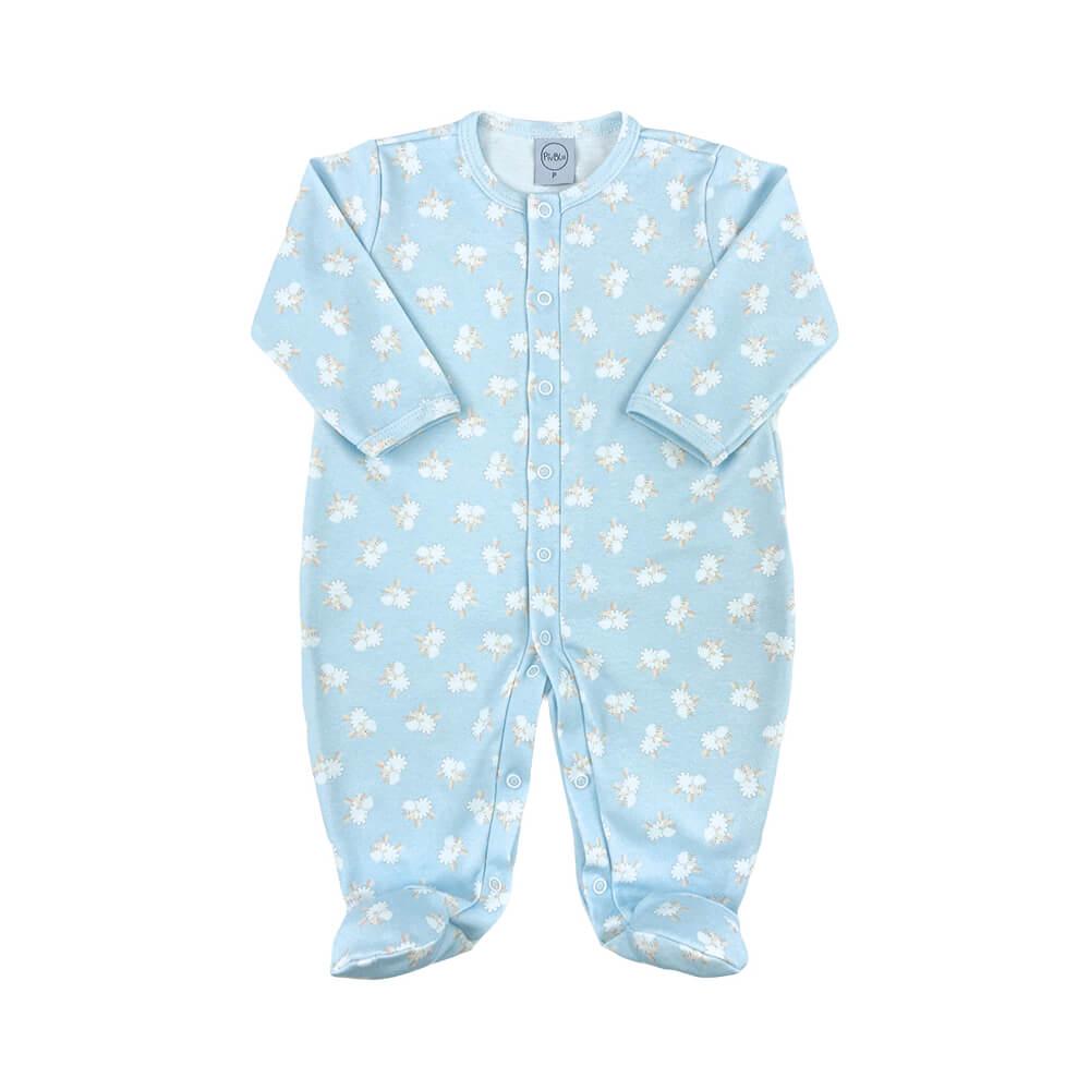 Macacão Bebê Fio Egípcio Ovelhinha Azul - RN e P com pezinho; M, G e XG sem pezinho