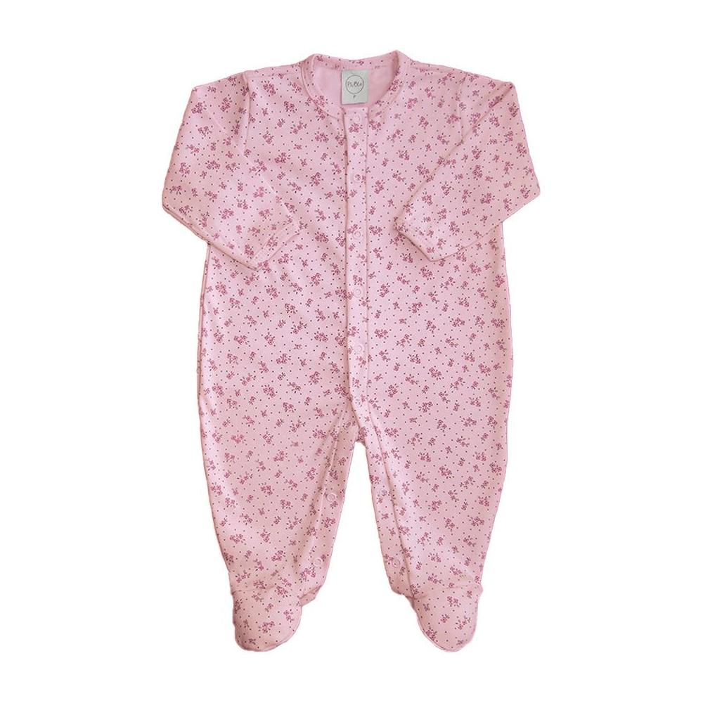 Macacão Bebê Básico Floral Rosa - Tamanhos RN e P com pezinho; M, G e XG sem pezinho