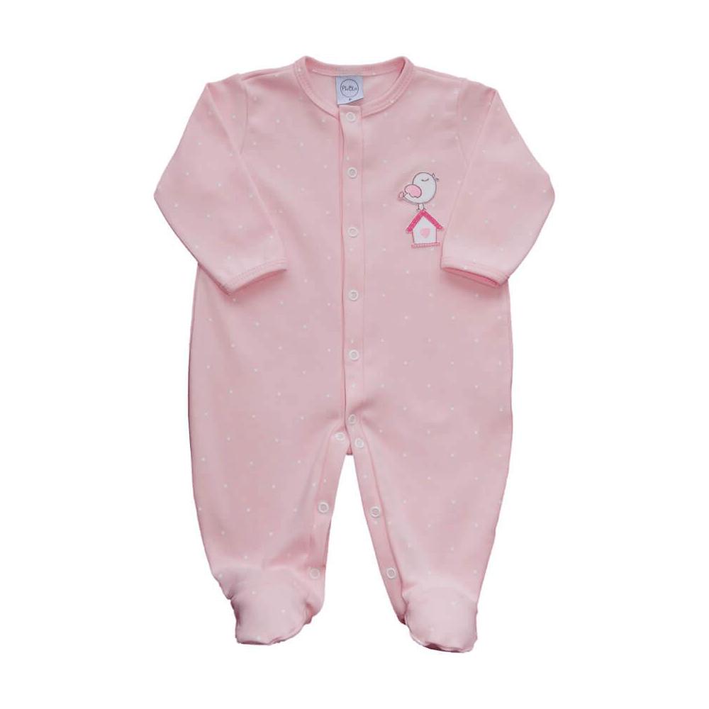 Macacão Bebê Passarinho Rosa  - Piu Blu