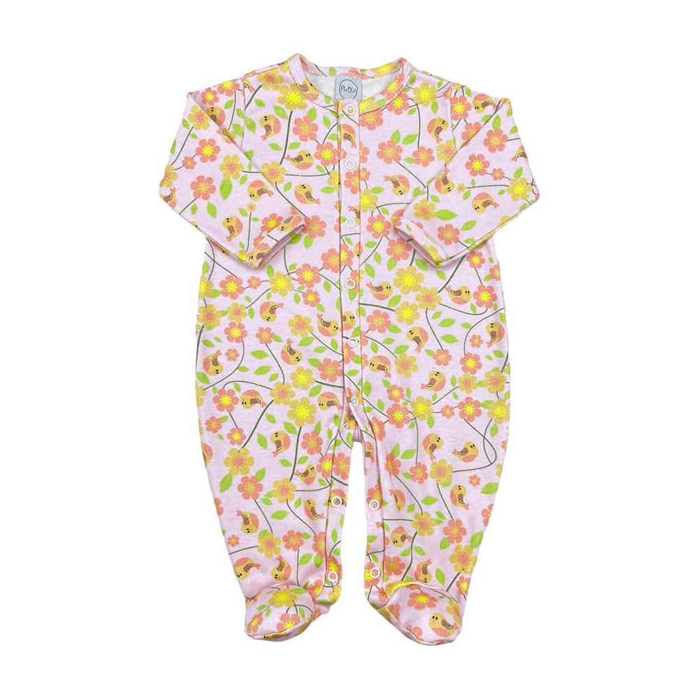 Macacão Bebê Básico Passarinhos Rosa - Tamanhos RN e P com pezinho; M, G e XG sem pezinho