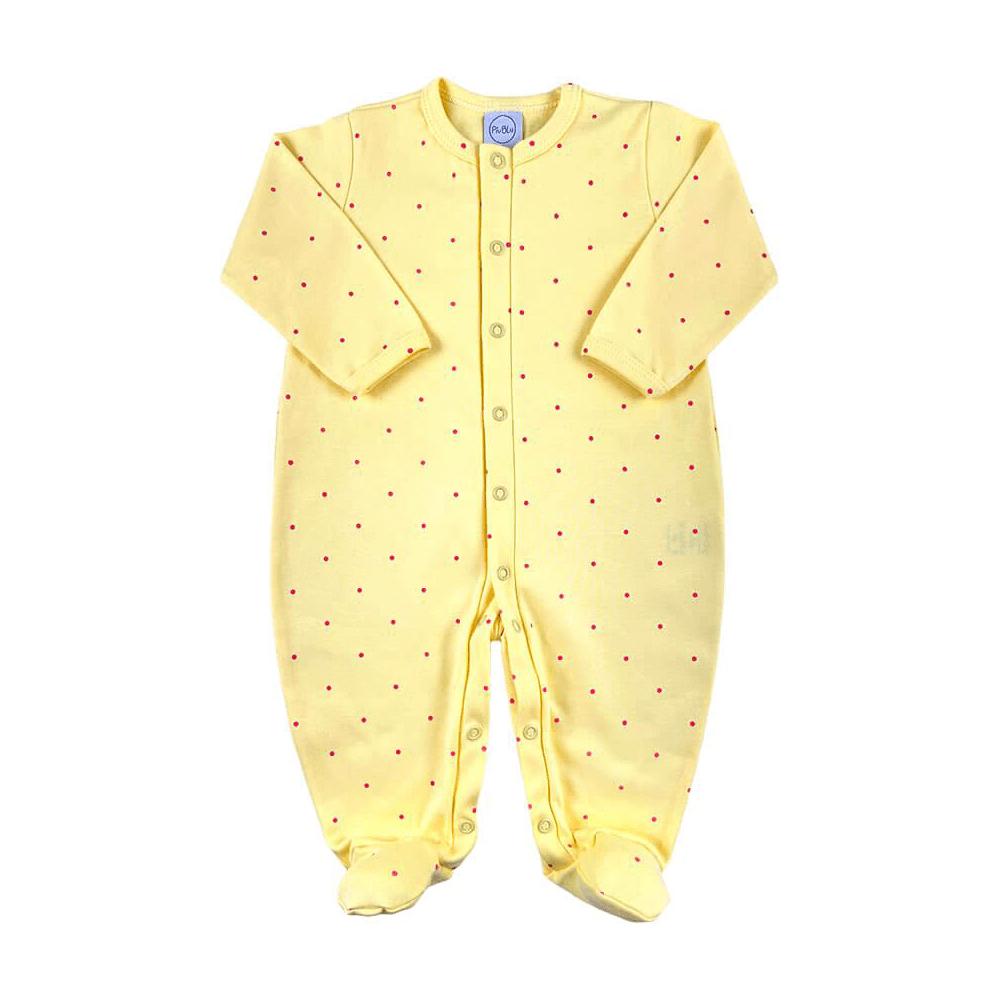 Macacão Bebê Poá Amarelo  - Piu Blu