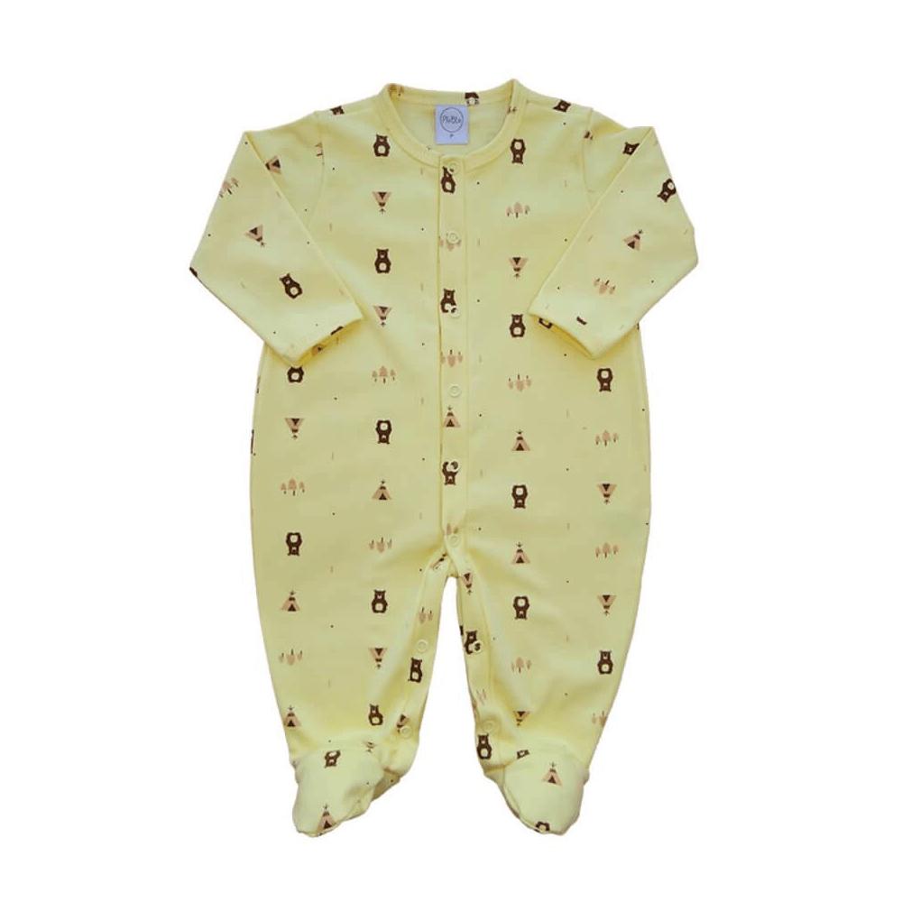 Macacão Bebê Ursinho Amarelo - RN e P com pezinho; M, G e XG sem pezinho