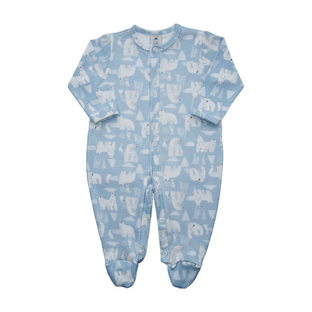 Macacão Bebê Básico Urso Polar - Tamanhos RN e P com pezinho; M, G e XG sem pezinho  - Piu Blu