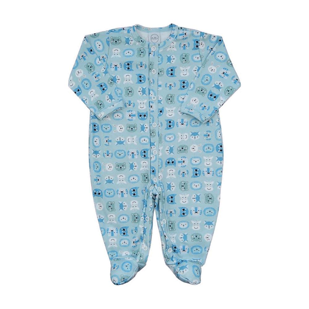 Macacão Bebê Zoo - RN e P com pezinho; M, G e XG sem pezinho  - Piu Blu