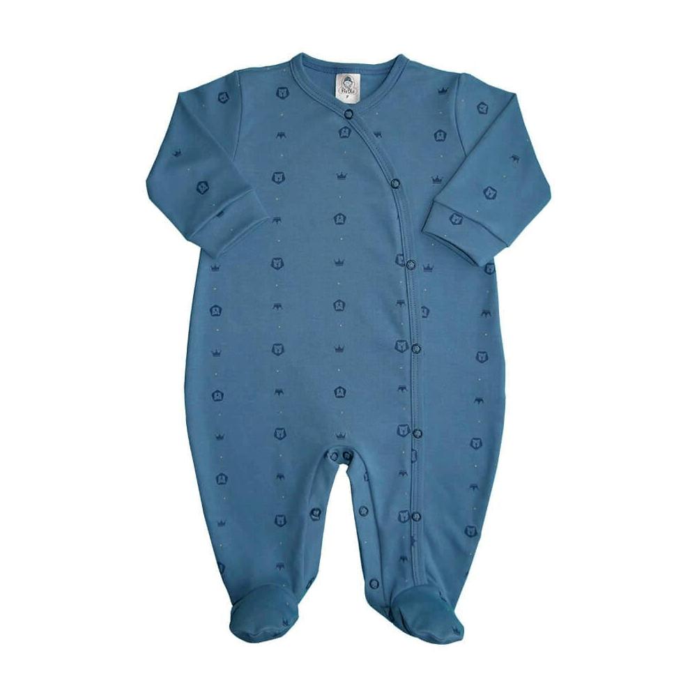 Macacão Bebê Botão Lateral Leãozinho - Tamanhos RN e P com pezinho; M, G e XG sem pezinho  - Piu Blu