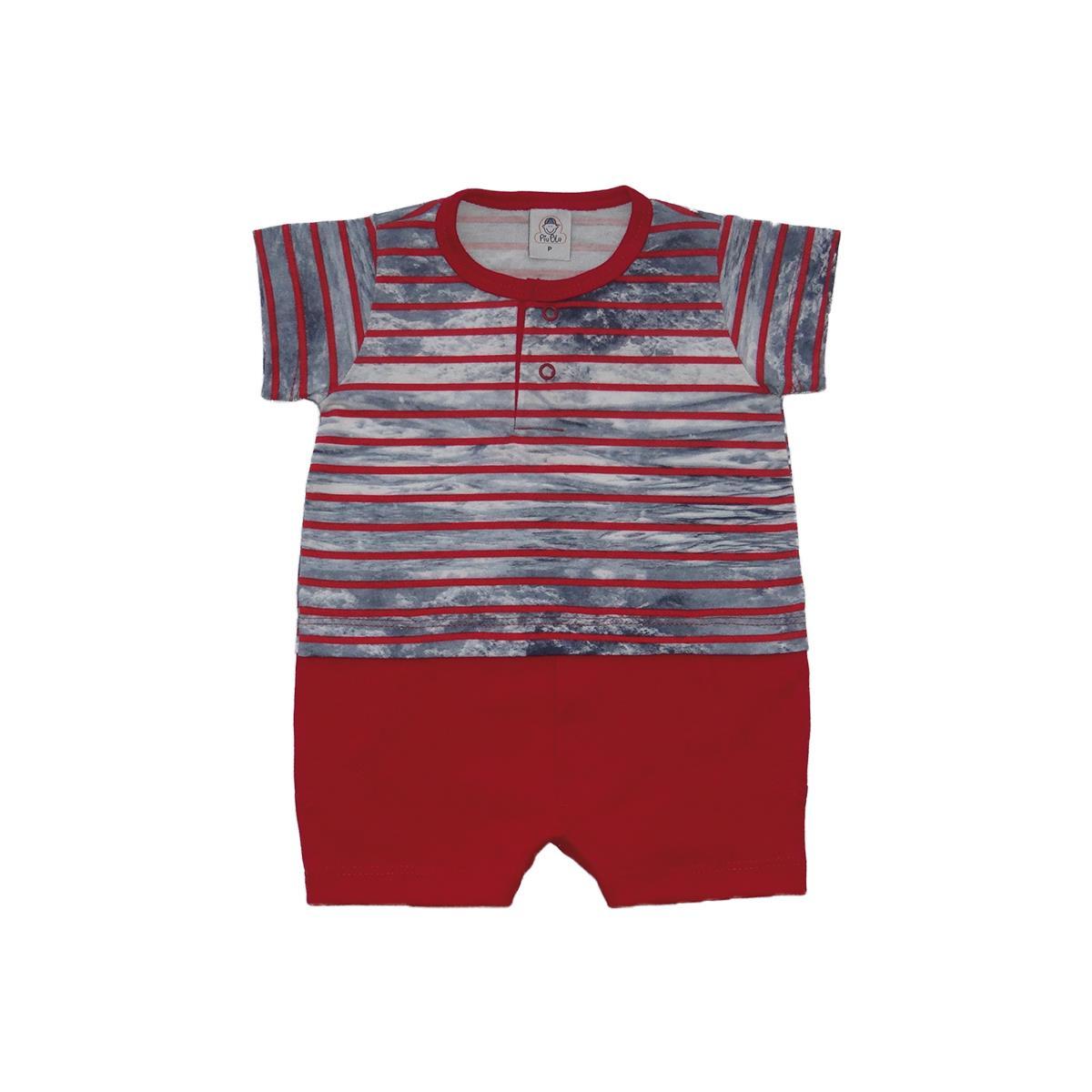 Macacão Bebê Curto Listrado Vermelho