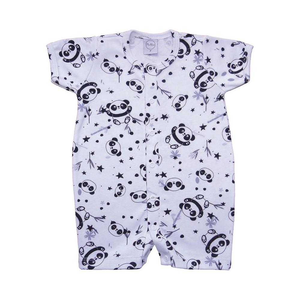 Macacão Bebê Curto Pandas  - Piu Blu