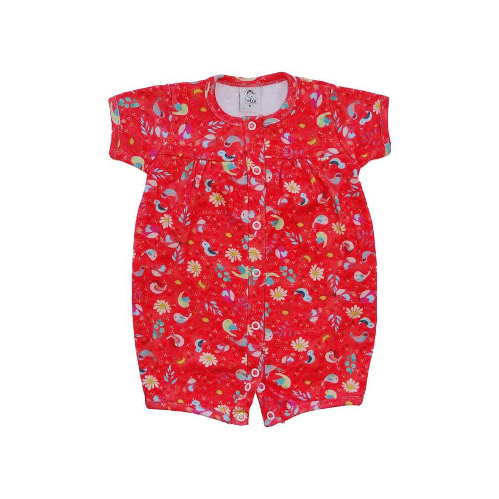 Macacão Bebê Curto Passarinho Vermelho