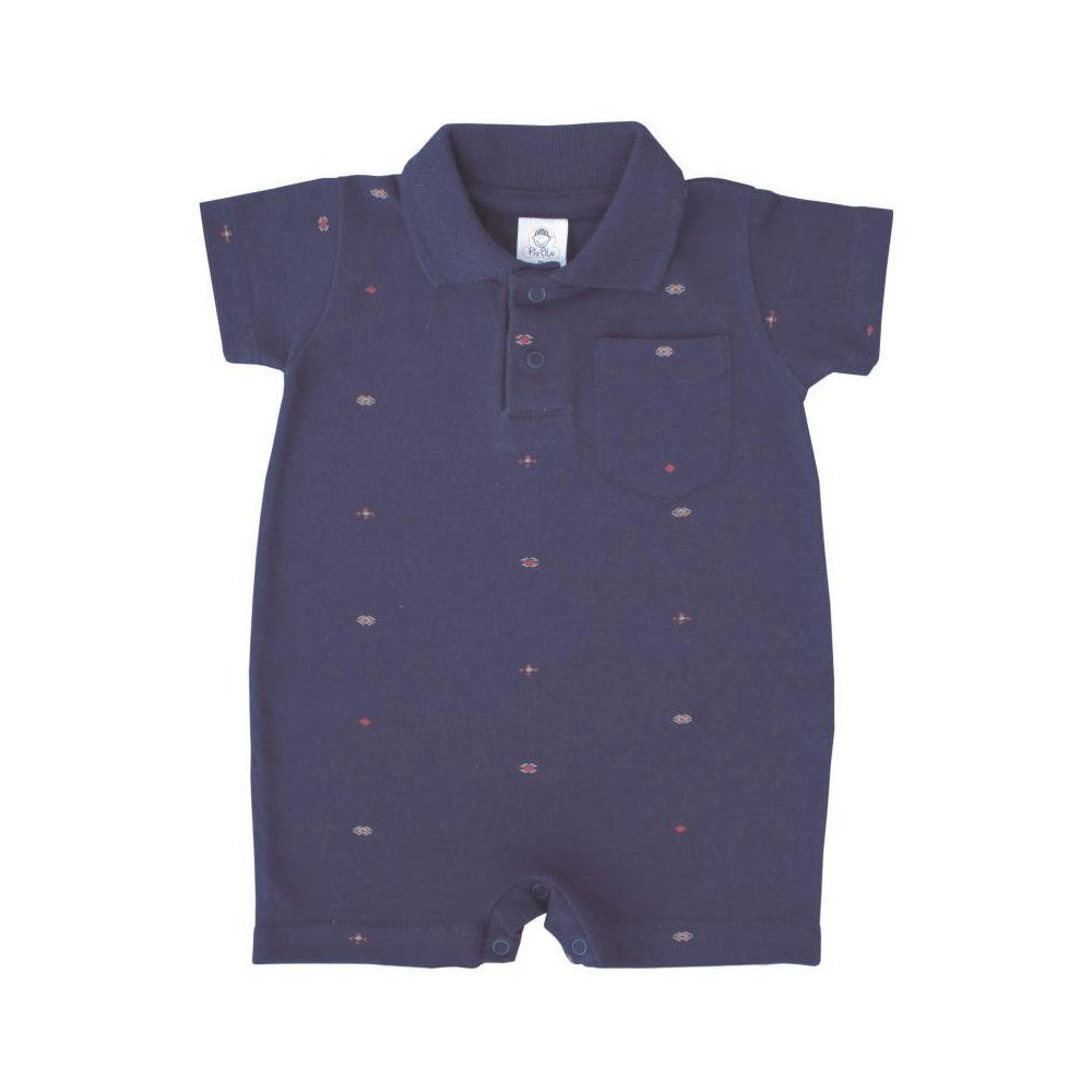 Macacão Bebê Curto Polo Marinho Piquê  - Piu Blu