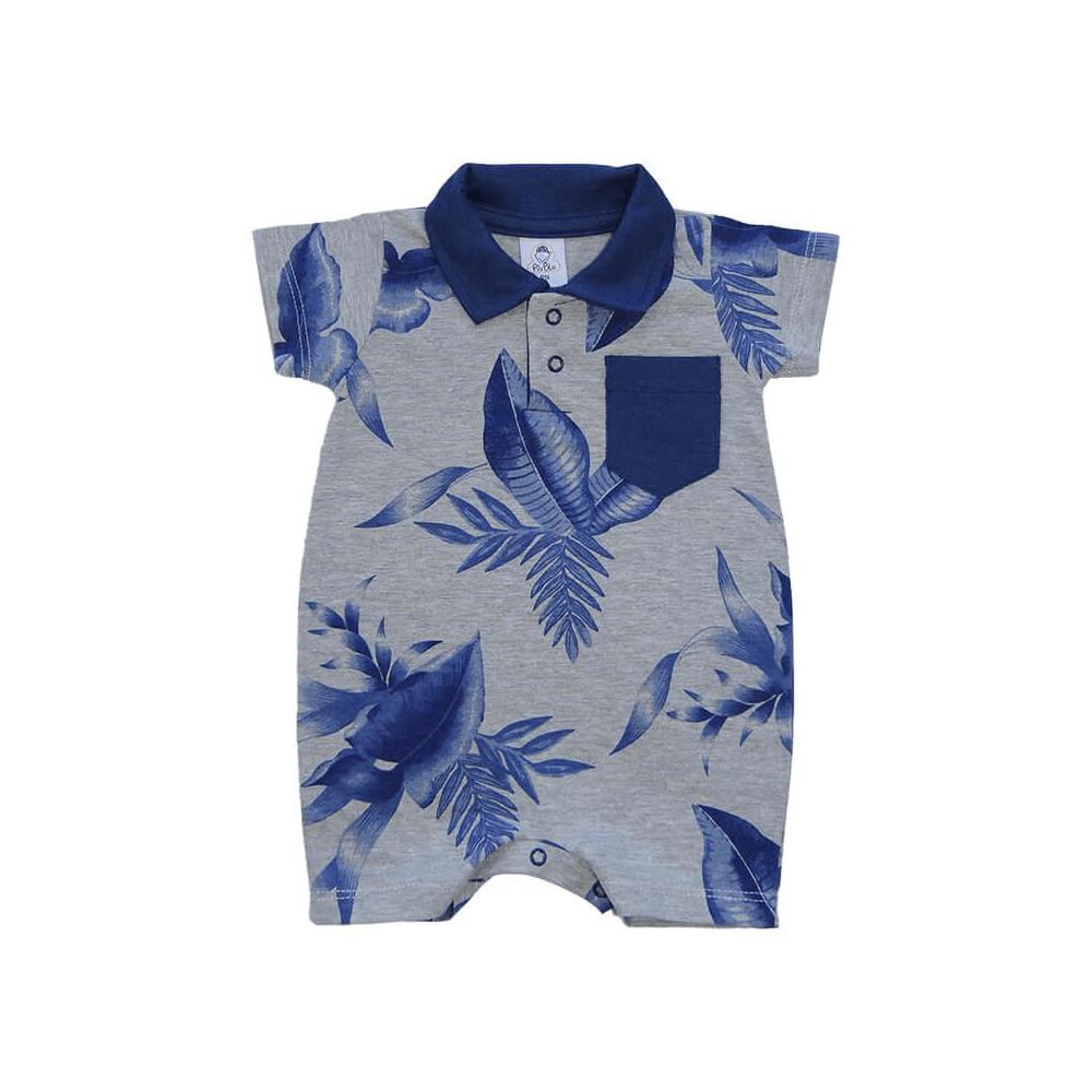 Macacão Bebê Curto Polo Mescla  - Piu Blu