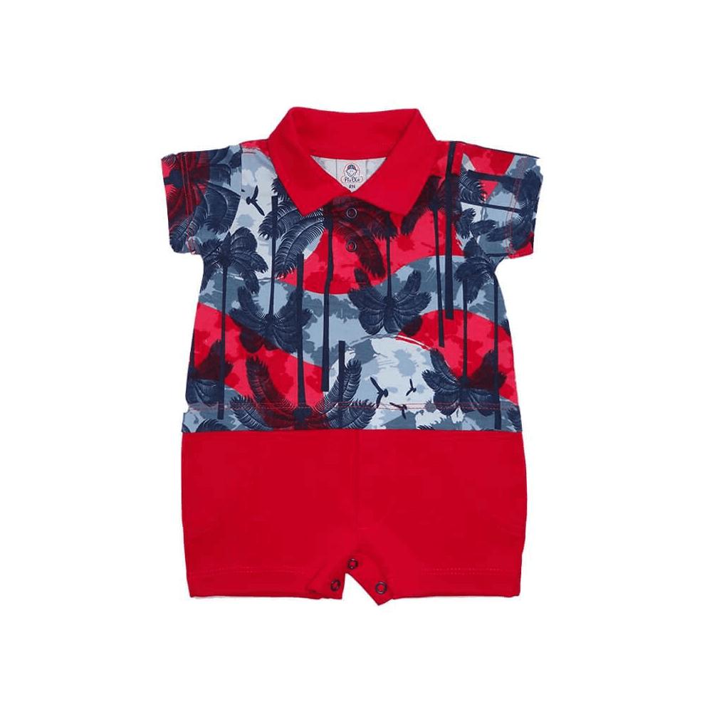 Macacão Bebê Curto Polo Vermelho