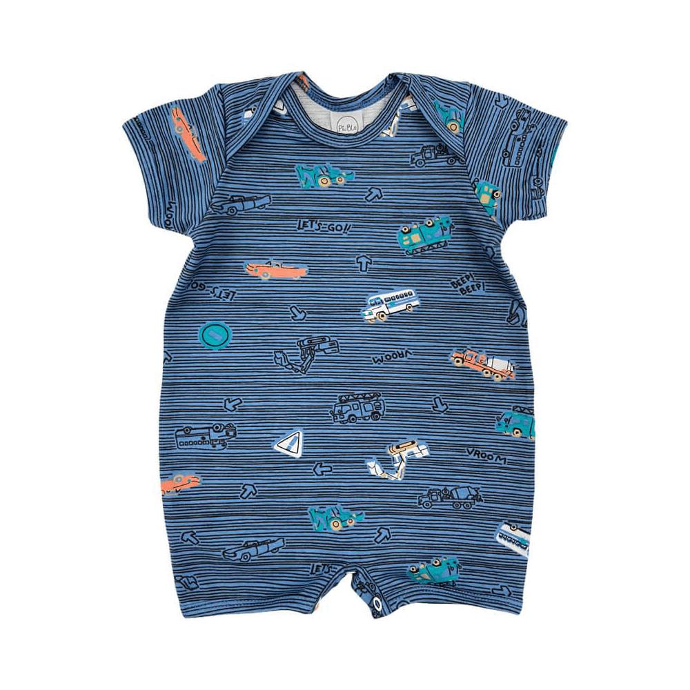Macacão Bebê Curto Transportes  - Piu Blu