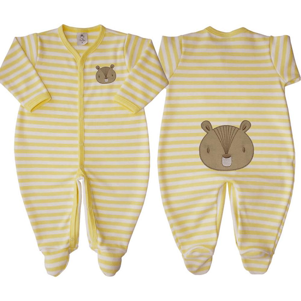 Macacão Bebê Listrado Amarelo - Tamanhos RN e P com pezinho; M, G e XG sem pezinho