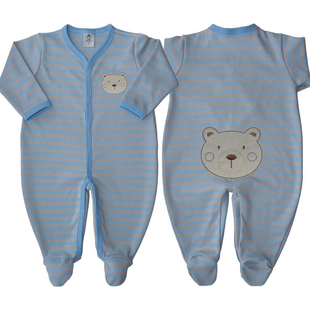 Macacão Bebê Listrado Azul - Tamanhos RN e P com pezinho; M, G e XG sem pezinho