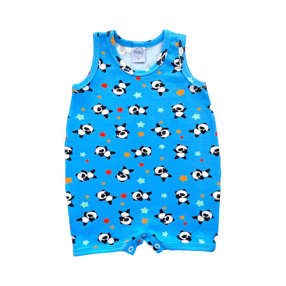 Macacão Bebê Curto Panda Azul