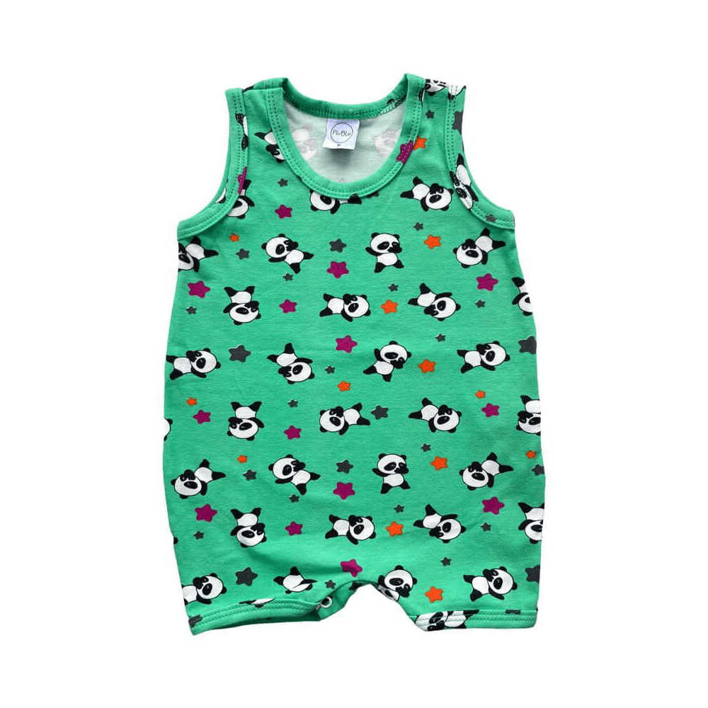 Macacão Bebê Curto Panda Verde