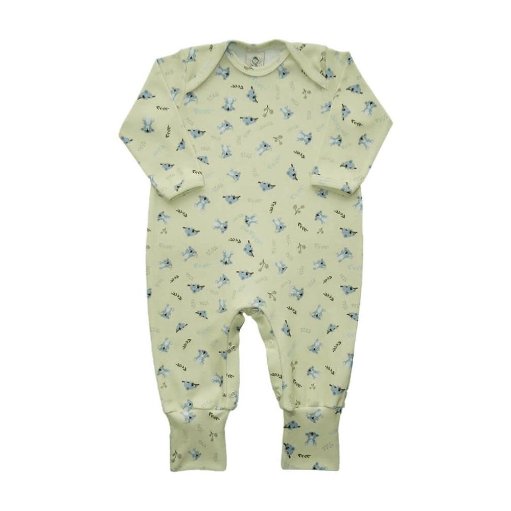 Macacão Bebê Longo Pezinho Reversível Coala  - Piu Blu