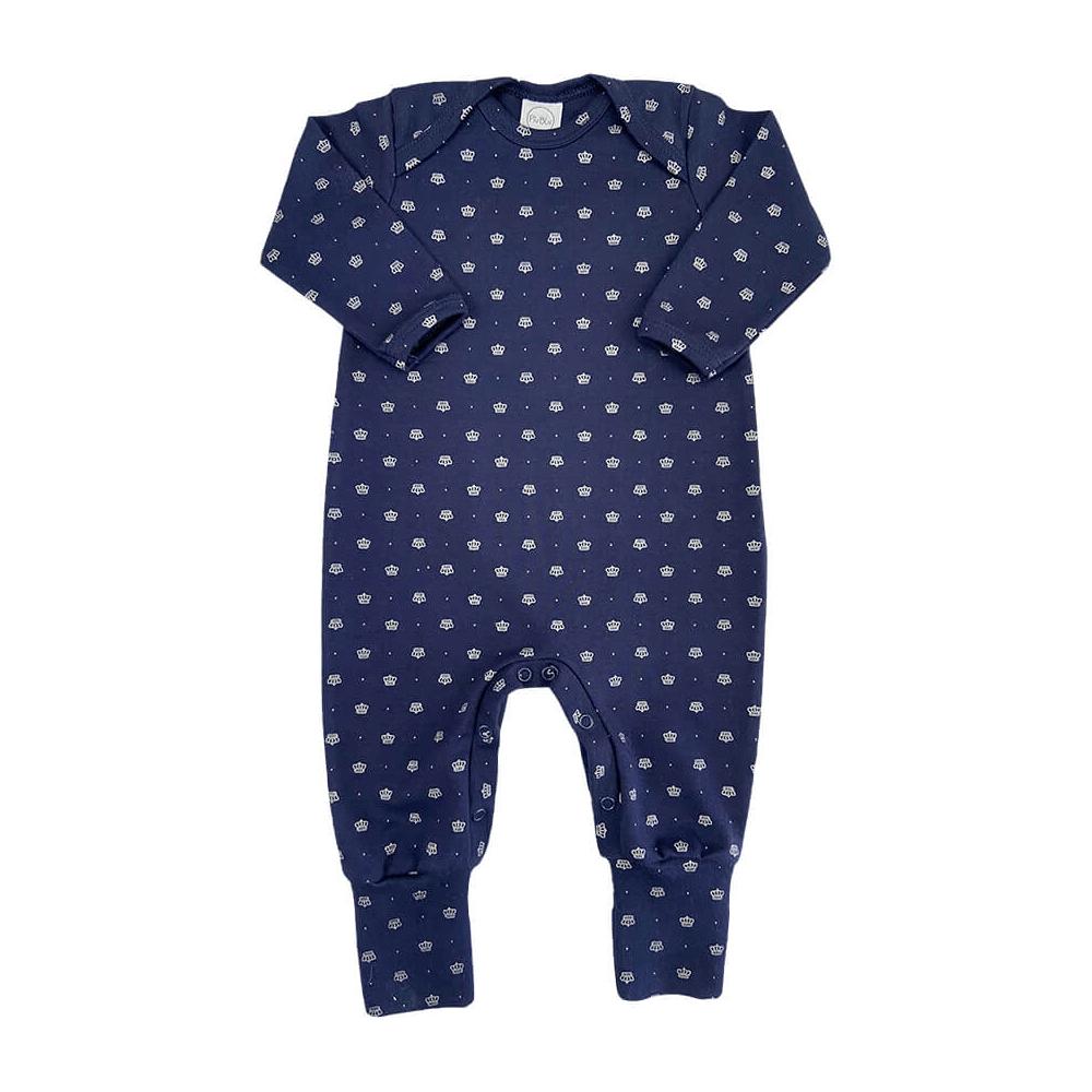 Macacão Bebê Longo Pezinho Reversível Coroa Marinho  - Piu Blu