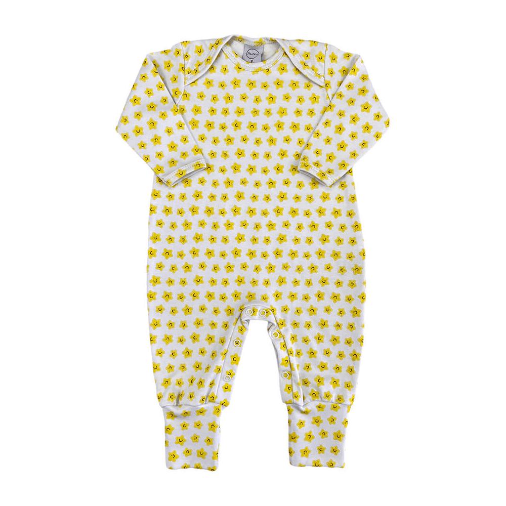 Macacão Bebê Longo Pezinho Reversível Estrelinha  - Piu Blu