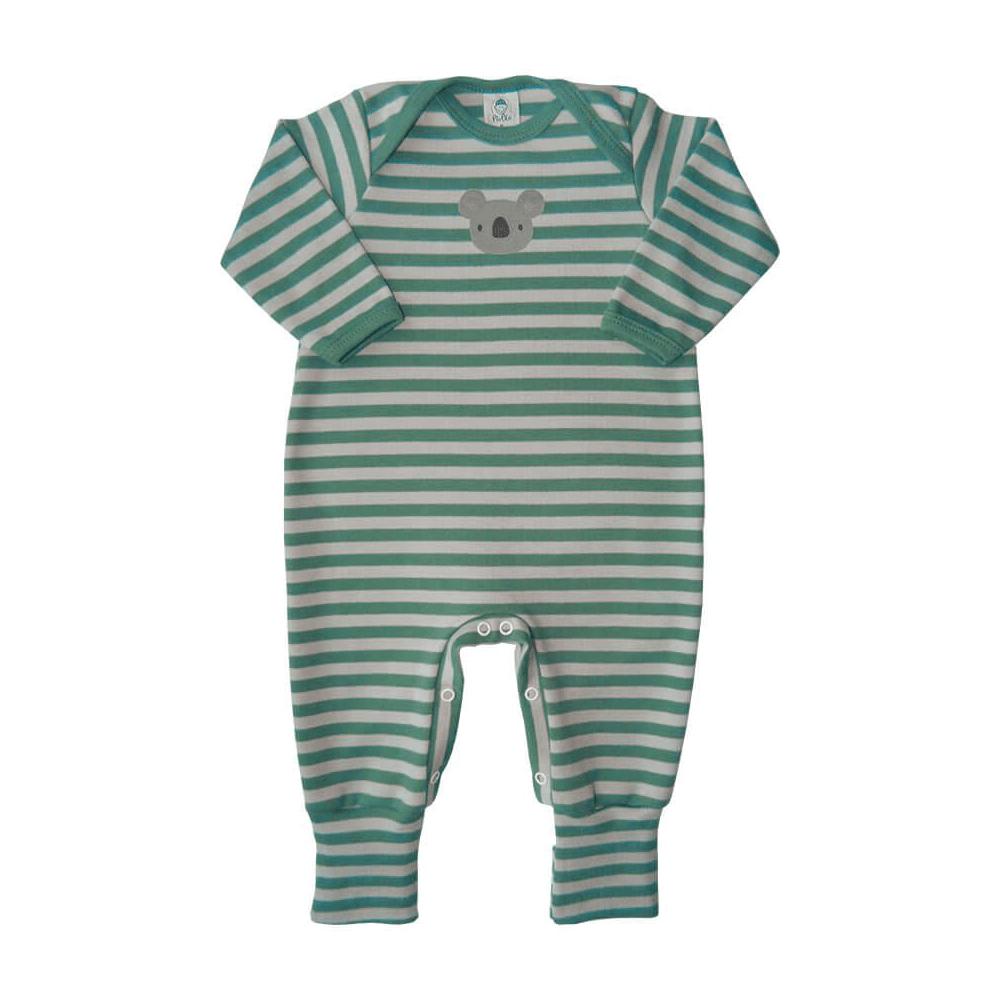 Macacão Bebê Longo Pezinho Reversível Listrado Coalinha Verde  - Piu Blu
