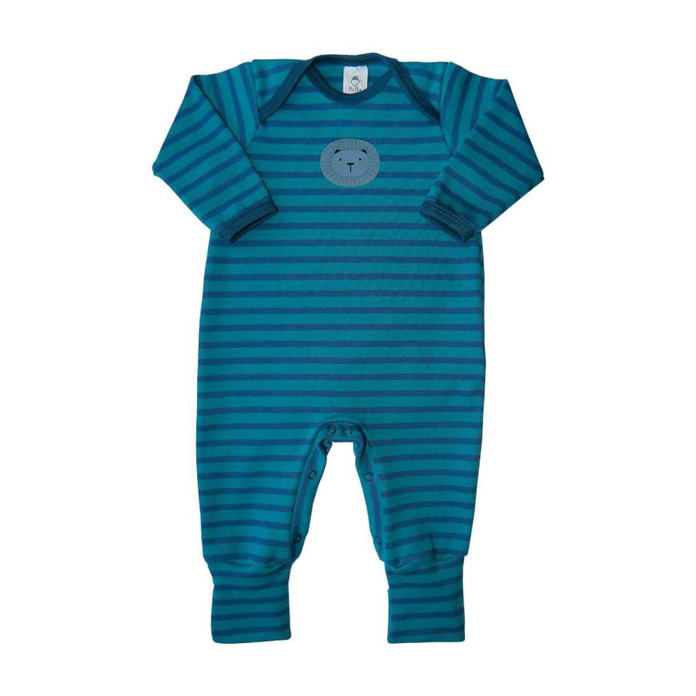 Macacão Bebê Pezinho Reversível Listrado Leãozinho Azul