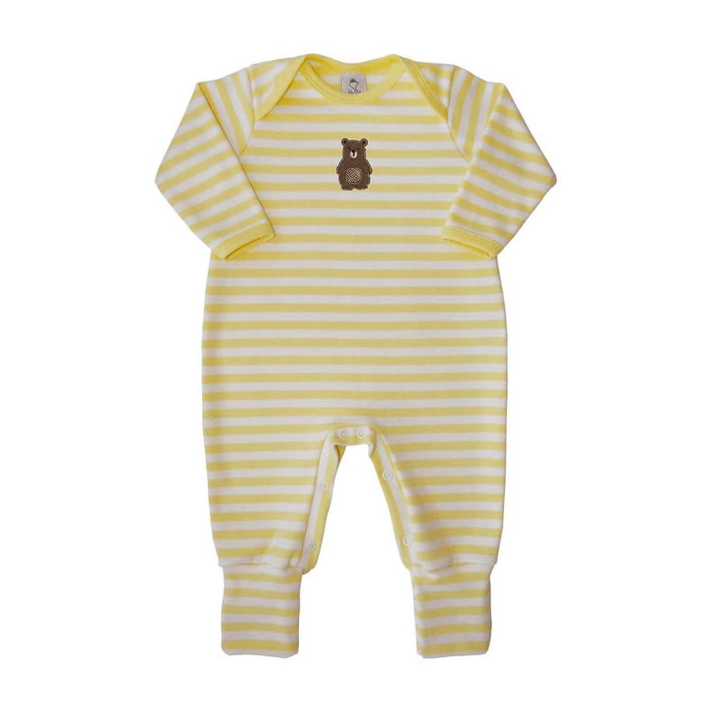 Macacão Bebê Longo Pezinho Reversível Listrado Ursinho Amarelo