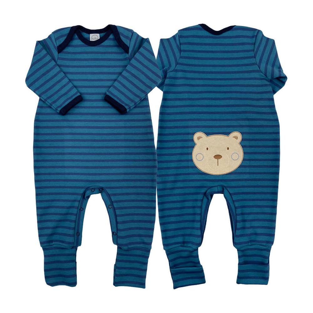 Macacão Bebê Longo Pezinho Reversível Listrado Ursinho Azul