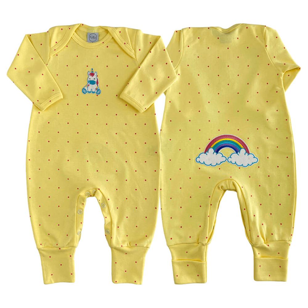 Macacão Bebê Longo Pezinho Reversível Poá Amarelo
