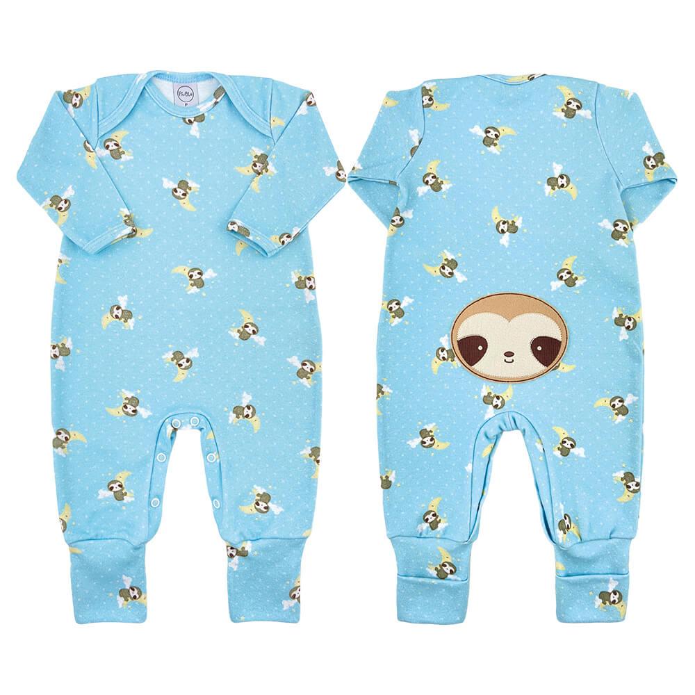 Macacão Bebê Longo Pezinho Reversível Preguiça