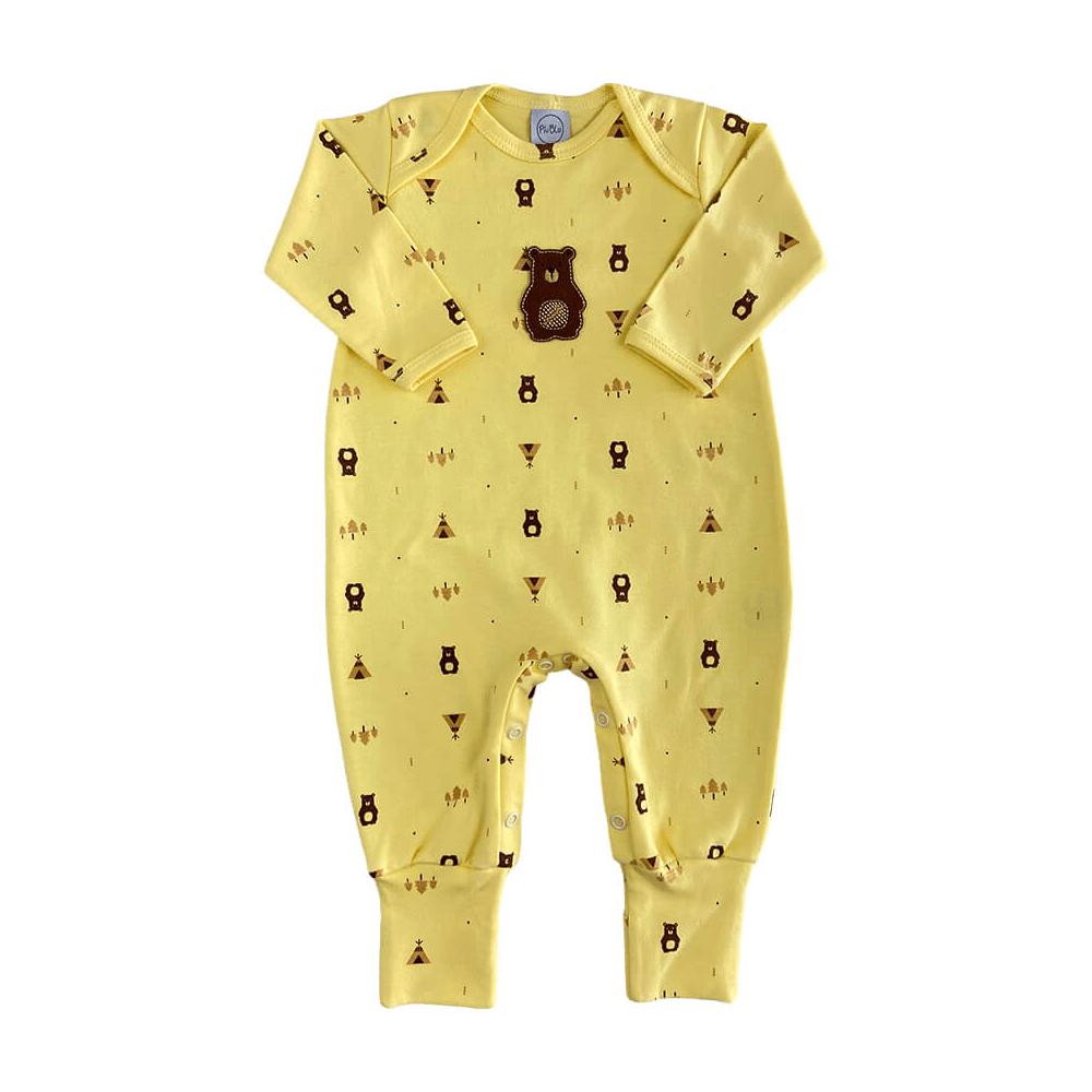 Macacão Bebê Longo Pezinho Reversível Ursinho Amarelo