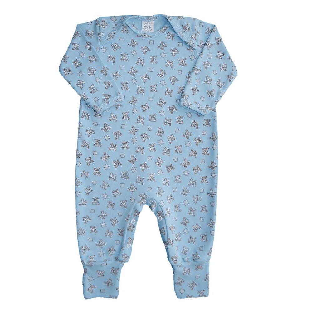 Macacão Bebê Longo Pezinho Reversível Ursinho Azul  - Piu Blu